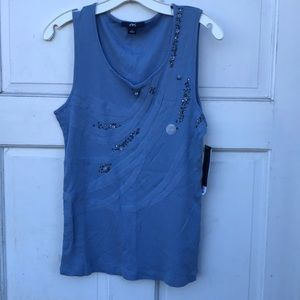 NWT Anne Klein Sport Beaded Embellished Tank Top L